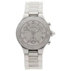 2000s Cartier Must de 21 Chronoscaph Stainless Steel Wristwatch