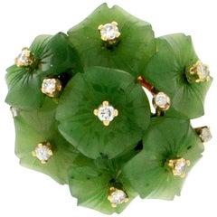Jade Flowers 14 Karat Yellow Gold Diamonds Cocktail Ring