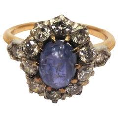 Cluster Ring Blue Sapphires Diamonds Rose White 18 Karat Gold Vintage