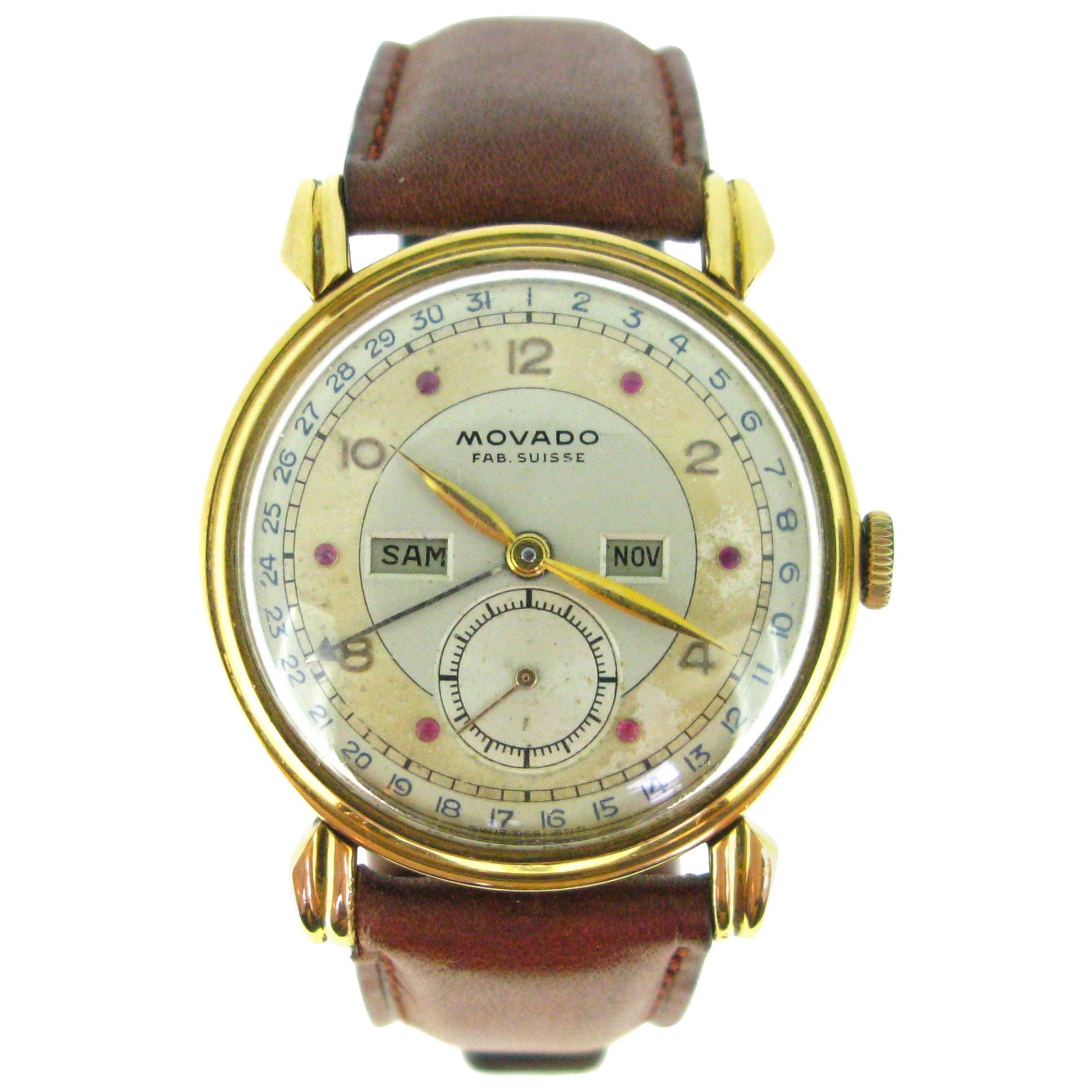 Movado Triple Date Calendar Ruby Dial Mechanic Rose Yellow Gold Wristwatch