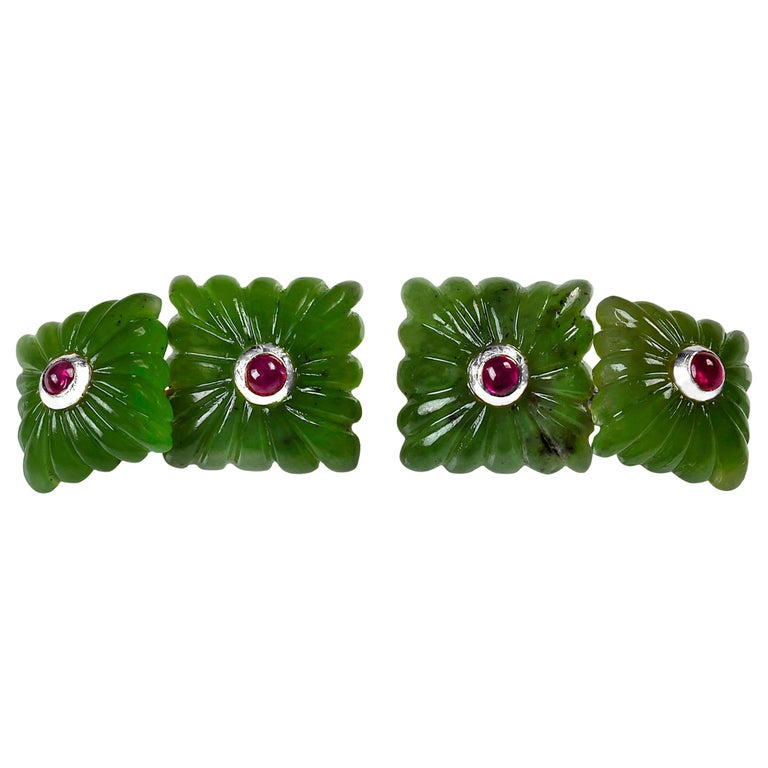 18 Karat White Gold Carved Squared Jade and Rubies Cufflinks For Sale