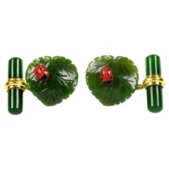 18 Karat Yellow Gold Jade Leaf Ladybug Coral Cufflinks