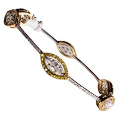 David Morris White and Yellow Round Diamond Platinum and Gold Bracelet