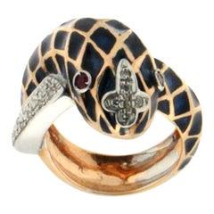 Snake Enamel 18 Karat Yellow and White Gold Diamonds Cocktail Ring