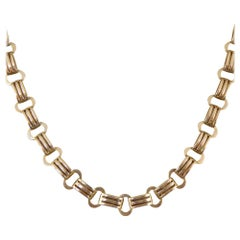 Antique Edwardian Fancy Link Double Clasp Necklace in 9 Carat Gold, circa 1910s