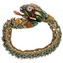 Enamel Snake 14 Karat Yellow Gold and Silver Diamonds Cuff Bracelet