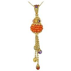 Multi Gem Drop Pendant in 9 Carat Gold with Chain, Tanzanite, Peridot, Citrene