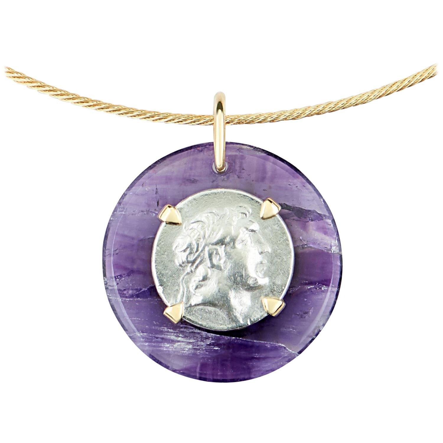 Dubini Ancient Ariarthes IX Coin Amethyst Medallion 18K Gold Choker Necklace