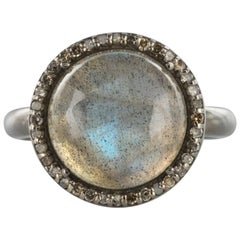 New Labradorite Diamonds Silver Cluster Ring