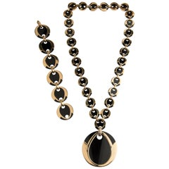 Boucheron 18 Karat Gold Diamond and Onyx Bracelet and Necklace Parure
