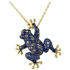 Sapphire, Champagne Diamond Frog Pendant 18 Carat Brooch on 9 Carat Gold Chain