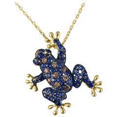 Sapphire, Champagne Diamond Frog Pendant 18 Carat Brooch on 9 Carat Gold Chain