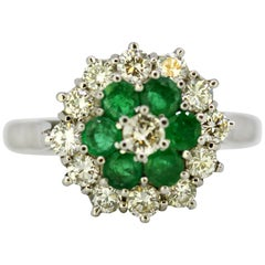 Vintage 18 Karat White Gold Ladies Cluster Ring with Diamonds and Emeralds