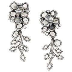 Manpriya B Slice & Rose Cut Diamond Swaying Diva Earrings in 18 Karat White Gold