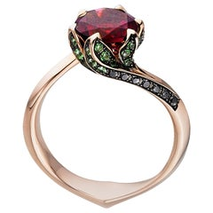 Rubellite Lily Pad Engagement Ring