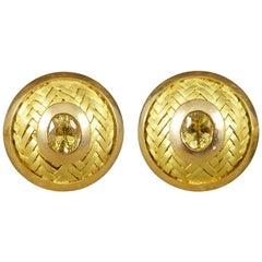 18 Carat Circular Yellow Gold Cufflinks with Yellow Sapphire Centres