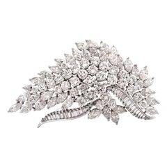 Elwood Van Clief Diamond Platinum Leaf Brooch Pin