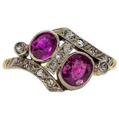Antiker Viktorianischer 18 Karat Gold, Platin, Rubine und Diamanten Ring