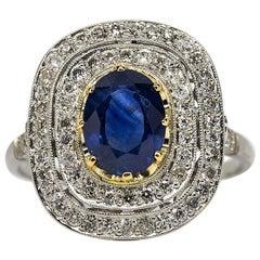 Platin Nachlass Handgefertigter Natürlicher Saphir und Diamanten Ring