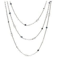 Art Deco Platinum Sapphires Necklace