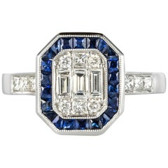 Art Deco Style Diamond Calibrated Sapphires Ring