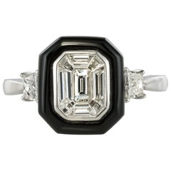 New Art Deco Style Baguette Diamond Black Agate Ring