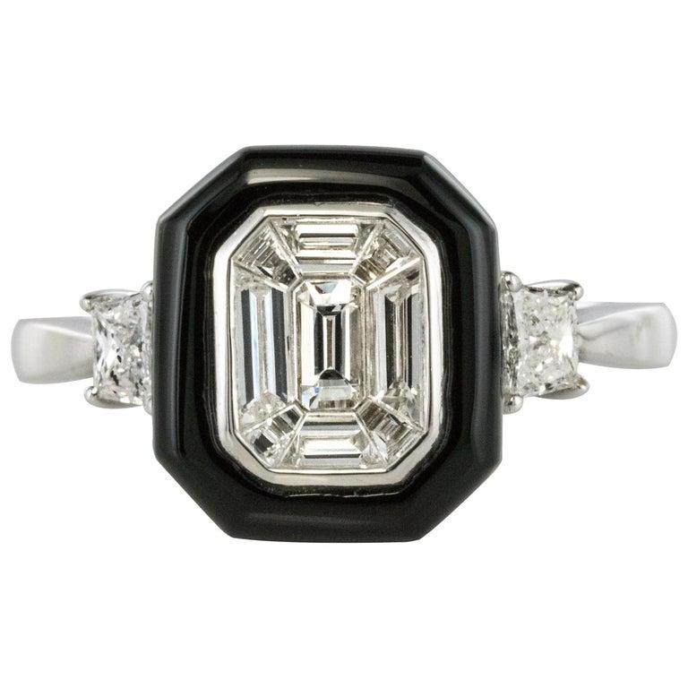 New Art Deco Style Baguette Diamond Black Agate Ring For Sale