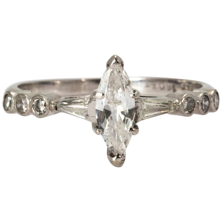 Certified 1940s Diamond Marquise Ring For Sale