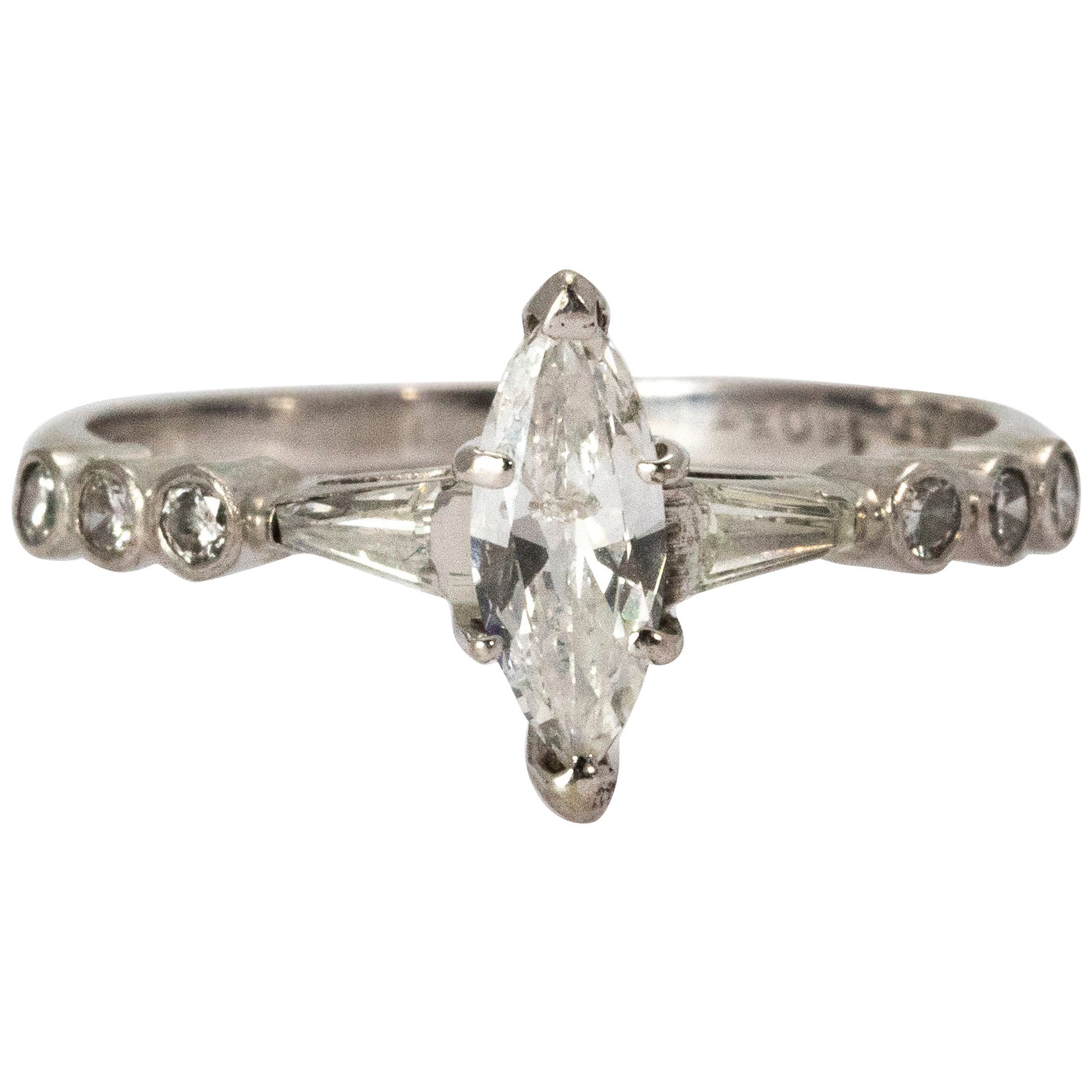 Certified 1940s Diamond Marquise Ring