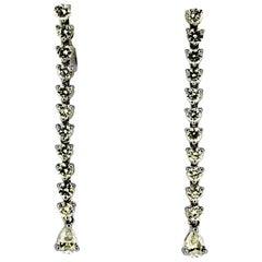 Vintage 14 Karat Weißgold Damen Ohrhänger mit Diamanten, 1970er Jahre
