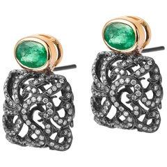 Fei Liu Emerald Yellow Gold Diamond Black Gold Studd Earrings