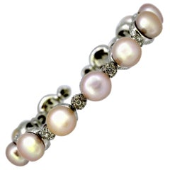 Ladies 18 Karat White Gold Bangle with South Sea Pearls and Diamonds, 1990s