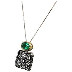 Fei Liu 18 Karat Gold Black Rhodium Necklace with Oval Emerald Stone