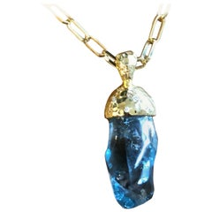 Aquamarine Diamond and 18 Karat Gold Pendant Necklace