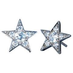 Robert Vogelsang 0.94 Carat Diamond Platinum Star Stud Earrings