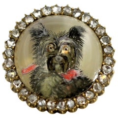 Antique Victorian 15k gold ring with diamonds, a portrait of dog essex crystal