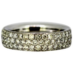18 Karat White Gold Eternity Ring Band with Diamonds, 1990s