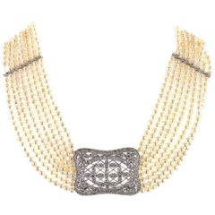 Diamond Multistrand Pearl Choker 18 Karat White Gold Necklace