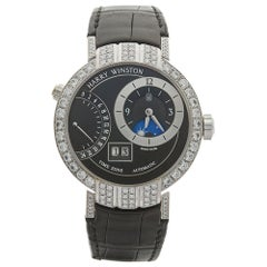 2015 Harry Winston Premier Excenter Timezone Afterset Diamonds White Gold