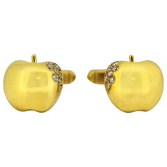 de Grisogono, Gold Cufflinks in the Form of Apples, Decorated with Diamonds