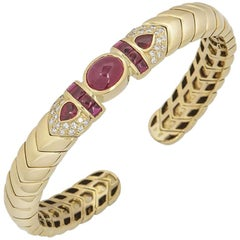 David Morris Diamond and Ruby Cuff Bangle