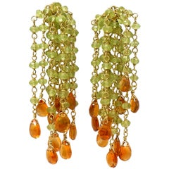Peridot and Citrine Gold Bead Earrings