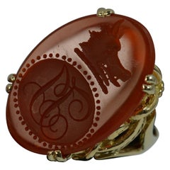 Large Wild Boar Head Carnelian Agate and 9 Carat Gold Intaglio Seal Signet Ring