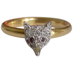 Victorian Silver Gold Diamond Fox Ring
