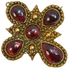Huge Georgian Foiled Back Garnet Cabochon 15 Carat Gold Pendant Brooch