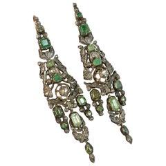 Georgian Portuguese Emerald Diamond and Rose Gold Earrings