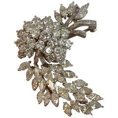 Natural VS 10 Carat Diamond and Platinum Floral Spray Brooch