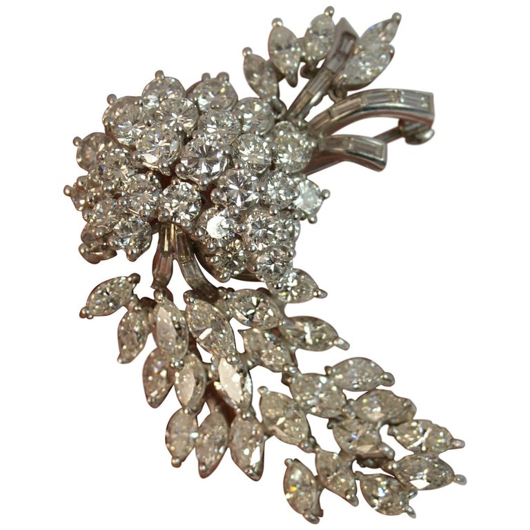 Natural VS 10 Carat Diamond and Platinum Floral Spray Brooch For Sale
