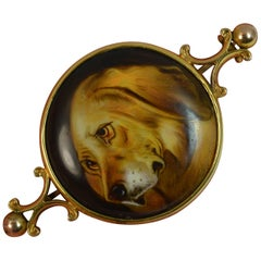 Victorian Hand Painted Spaniel Dog 15 Carat Gold Brooch