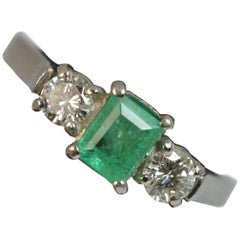 Platinum Emerald and Diamond Trilogy Engagement Ring